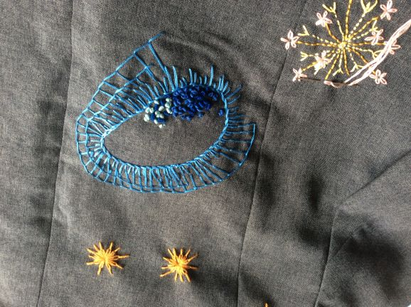 c94151c09c4 10.08.2019 - Inspiration til håndbroderi på tøj (372) Du kommer i gang med  at brodere på dit tøj, og præsenteres for forskellige sting til inspiration,